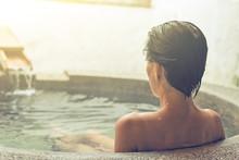 Woman At Hot Spring Pool