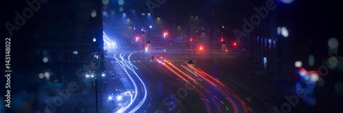 night traffic in the city, light trace from traffic  - 143148022