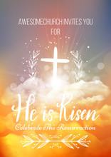 He Is Risen, Vector Easter Rel...