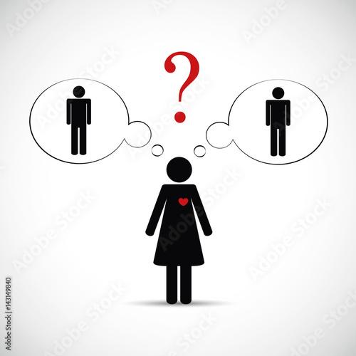 frau kann sich nicht zwischen zwei männern entscheiden