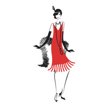 Woman In A Dress Of The 20's