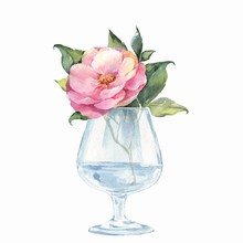 Glass Vase With Flowers. Watercolor Illustration
