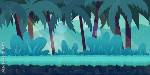Tuinposter Groene koraal cartoon jungle landscape, vector unending background