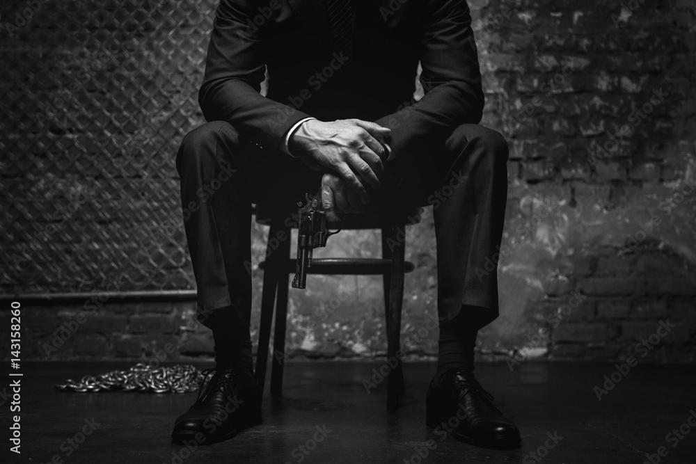 Fototapeta Imperious classy gentleman looking dangerous