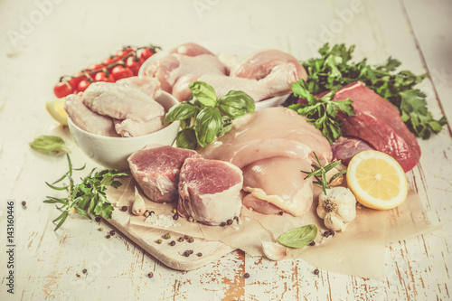 Staande foto Vlees Selection of different meat cuts