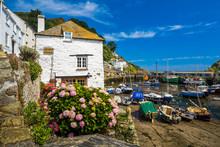 Polperro Harbour In Cornwall UK.
