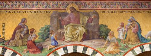 Fotografija  BERLIN, GERMANY, FEBRUARY - 14, 2017: The Fresco of Jesus Christ among the children in Herz Jesus church by Friedrich Stummel and Karl Wenzel from end of 19