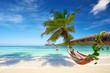 canvas print picture - Urlaub am Strand mit Hängematte