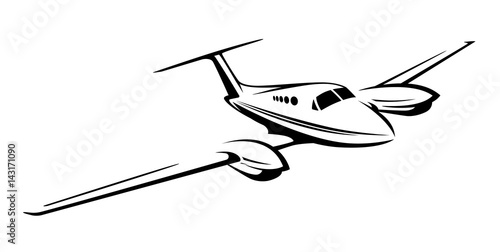Small private twin engine airplane  vector illustration Canvas Print