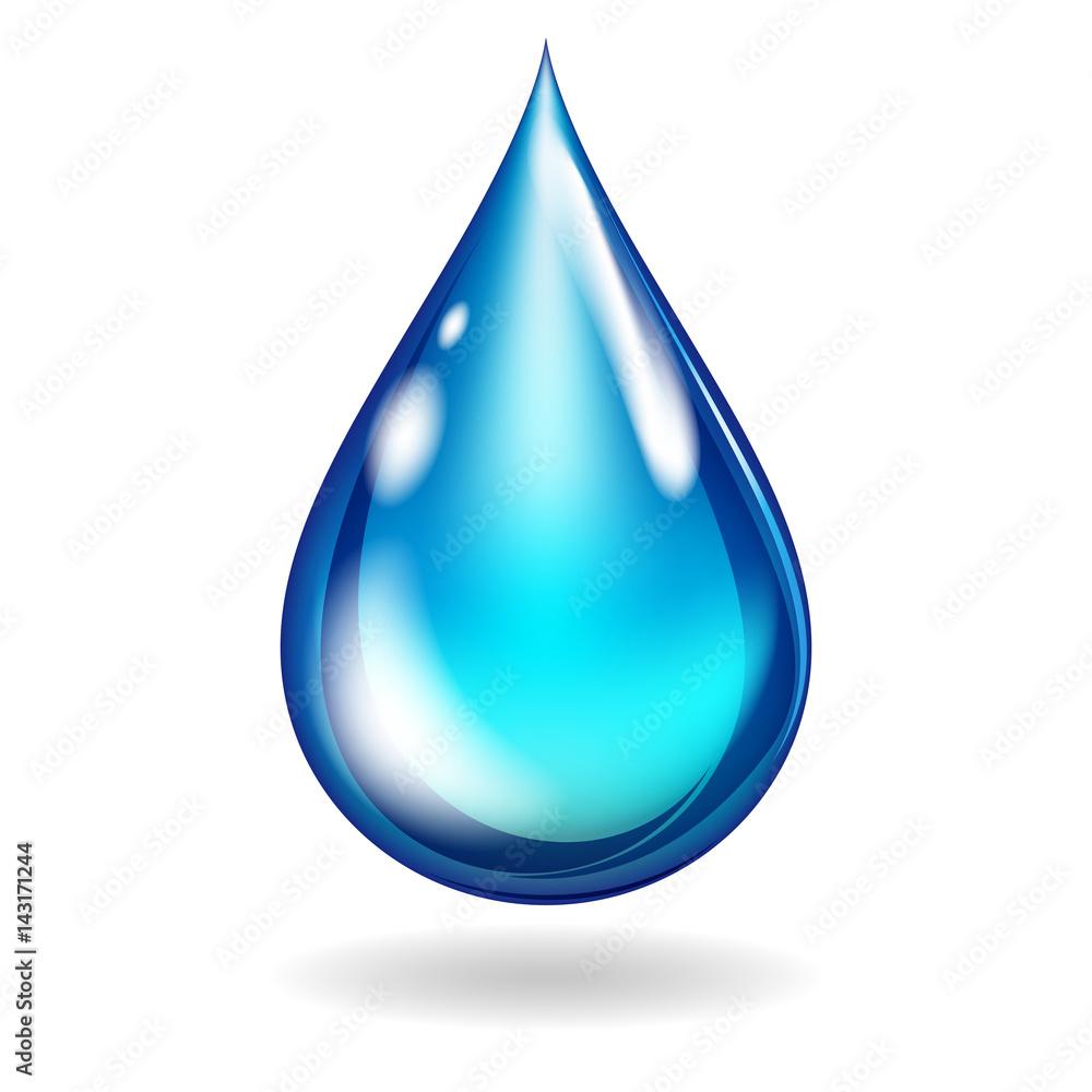 Fototapeta Isolated clean water blue drop, illustration.