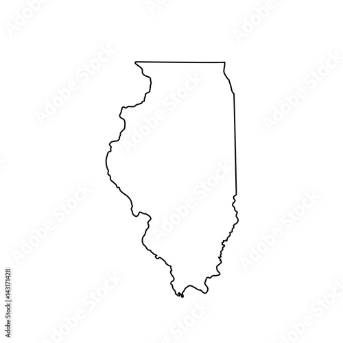 Obraz na plátně map of the U.S. state Illinois
