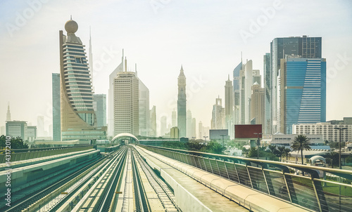 Dubai Skyline And Downtown Skyscrapers From Monorail Platform