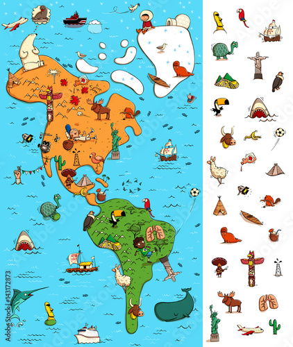 Fotografia  Map of America Visual Game. Locate isolated items on a map.