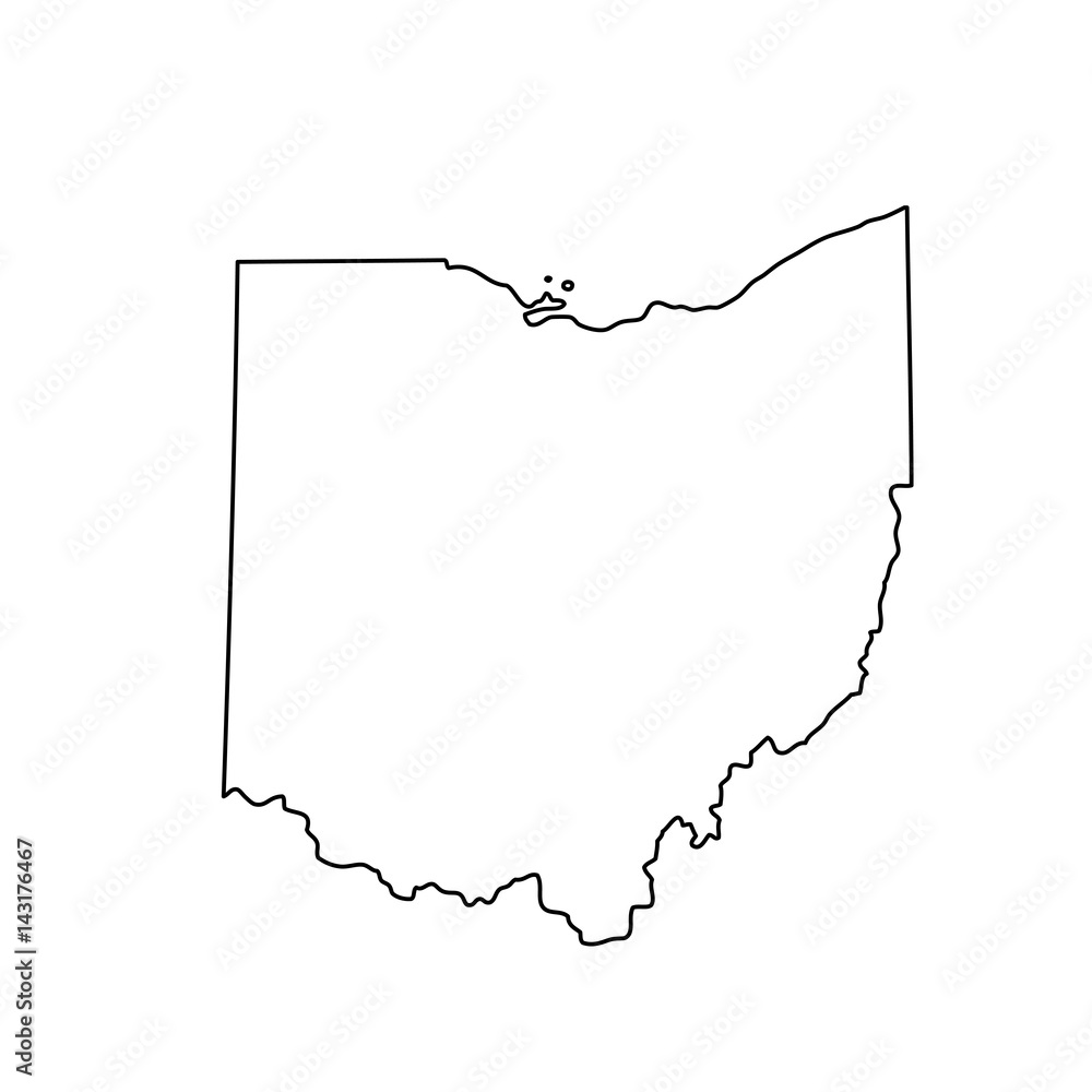 Fototapety, obrazy: map of the U.S. state of Ohio