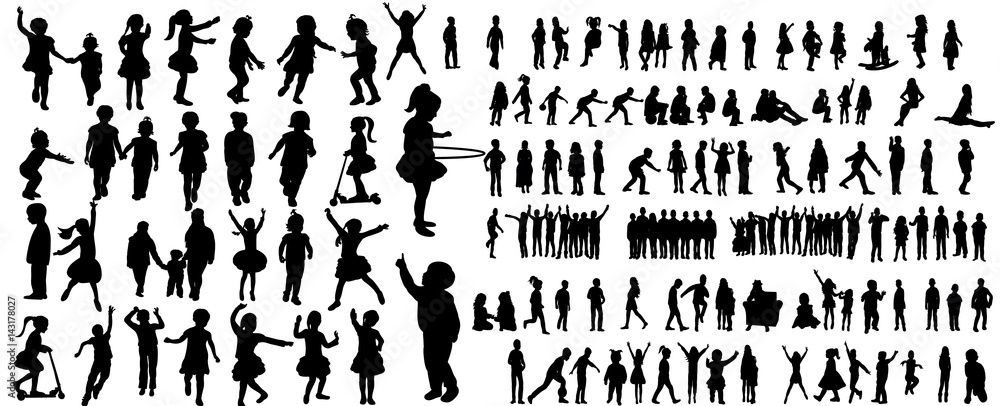 Fototapety, obrazy: Collection of children silhouettes boys and girls set, vector illustration