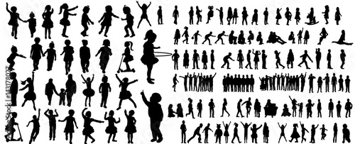 Fototapeta Collection of children silhouettes boys and girls set, vector illustration obraz