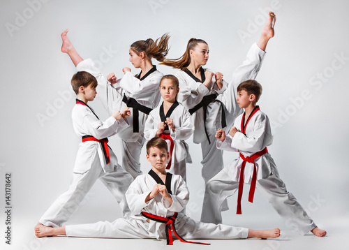Obrazy Karate   the-studio-shot-of-group-of-kids-training-karate-martial-arts