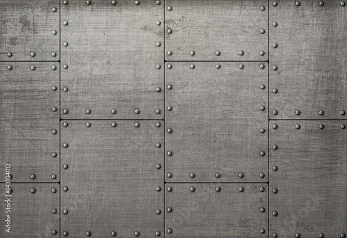 Türaufkleber Metall Dark metal plates with rivets background or texture
