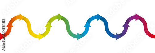 Fotografering  Up and down symbol for undulation and oscillation, depicted with a rainbow colored arrow wave - isolated vector illustration on white background, seamless extensible in both directions