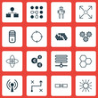Set Of 16 Robotics Icons. Includes Branching Program, Analysis Diagram, Related Information And Other Symbols. Beautiful Design Elements.