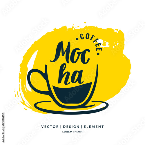 Fotografie, Obraz  Modern hand drawn lettering label for coffee drink Mocha.