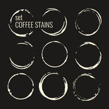 Set Of Isolated Coffee Stains.