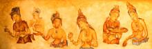 Ancient Wall Paintings Of Cloudy Maidens At Sigiriya