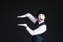 Mime Holds His Palms Parallel ...