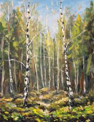 FototapetaOriginal oil painting on canvas. Beautiful green spring landscape. Modern impressionism art. Plein air birch trees in forest painting - Modern impressionism.
