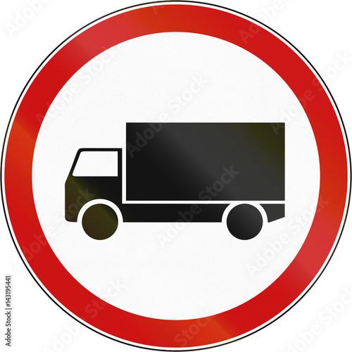 Fotografía  Road sign used in Croatia - No lorries
