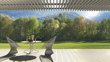 Minimalist Modern Terrace With Relax Area, Armchairs And Table For Breakfast, Panoramic Garden Meadow