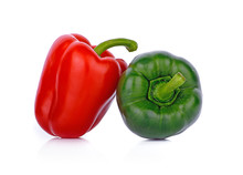 Red ,green  Pepper Isolated On White Background