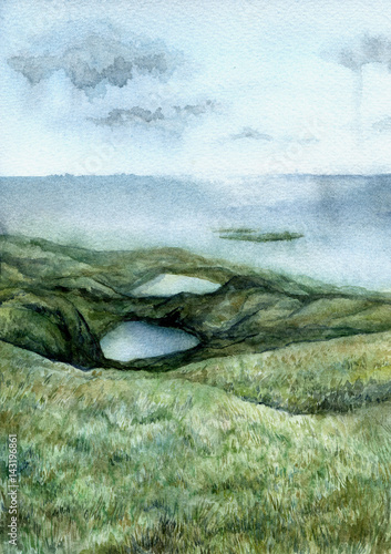 Poster Olive Watercolor abstract green landscape with sea and lakes