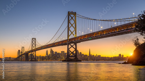 Canvas Prints San Francisco San Francisco skyline with Oakland Bay Bridge at sunset, California, USA