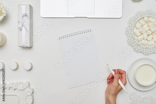 Fotografía  Female holding a white pen in hands on a white background
