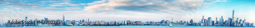 Poster New York Panoramic sunset view of New York City skyline from Jersey City