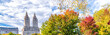 New York City. Foliage season in Central Park with Manhattan skyline