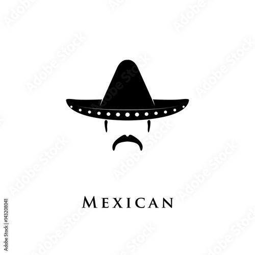 Fotografie, Obraz  Mexican Sombrero hat with mustache icon