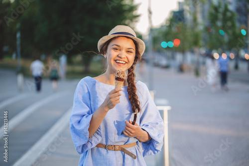 Valokuva  Portrait of beautiful happy smiling laughing white Caucasian brunette girl woman