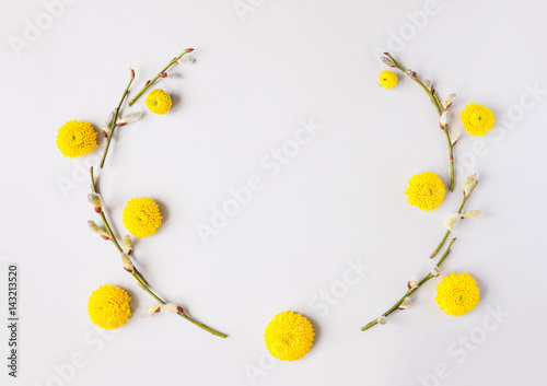 Flowers Composition Frame Made Of Willow Branches And Yellow