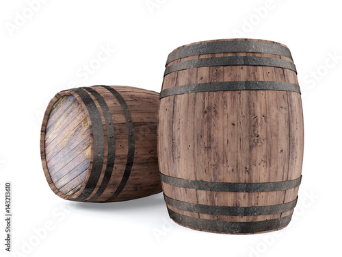 Tela  Wooden barrel isolated on white background, 3D rendering