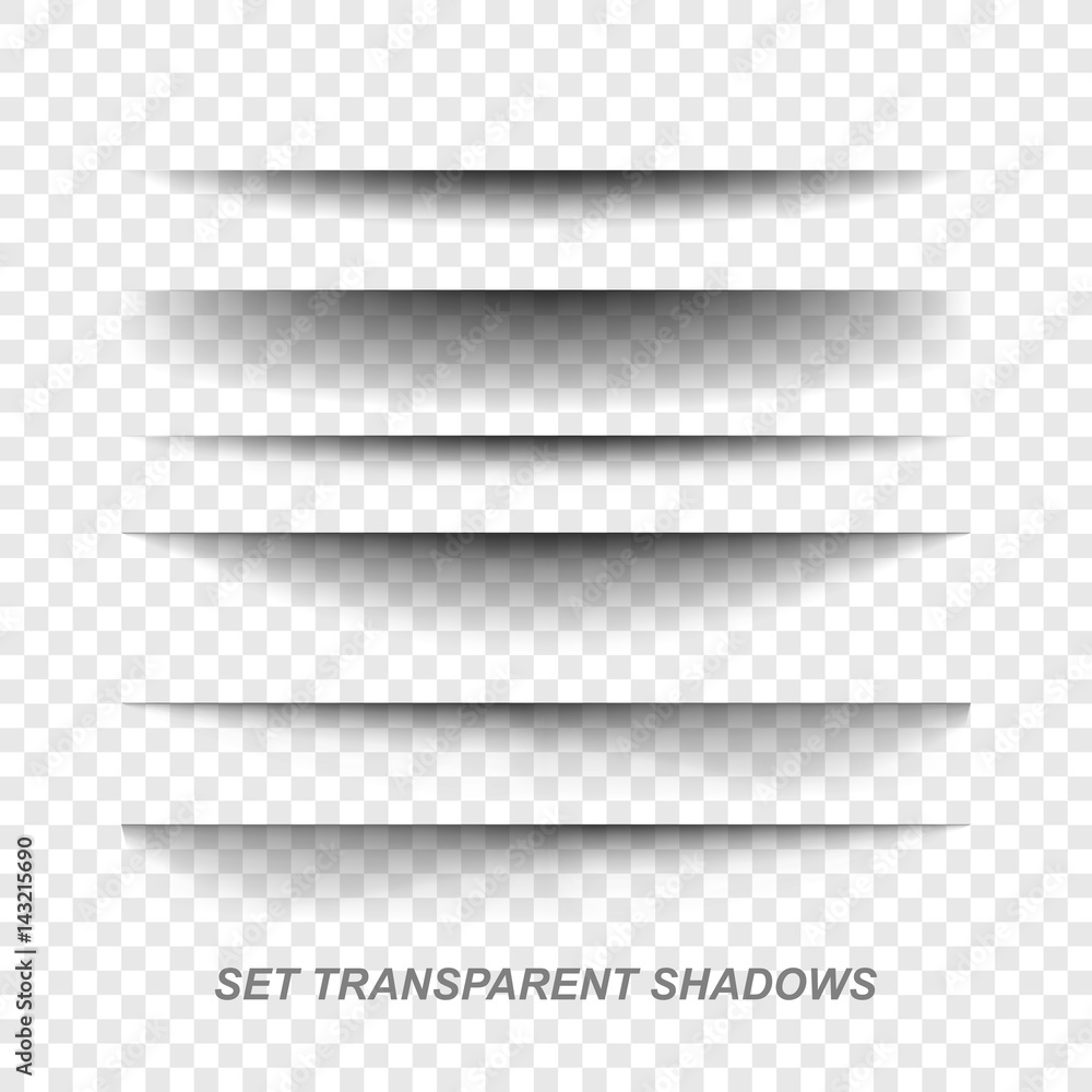 Fototapeta Page divider. Transparent realistic paper shadow effect set. Web banner.