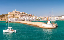 Aerial View Of Ibiza City Port...