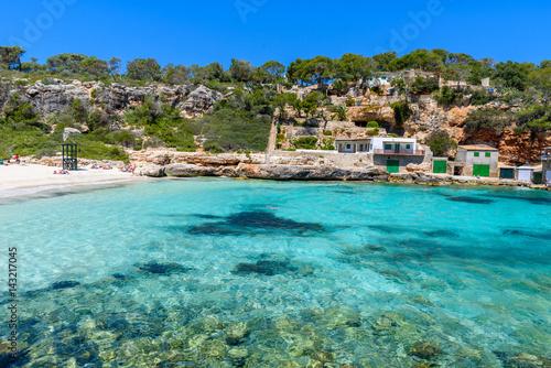 Poster de jardin Europe Méditérranéenne Cala Llombards - beautiful beach in bay of Mallorca, Spain