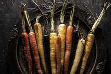 Roasted Multicolored Carrots Om Silver Old Fashioned Platter