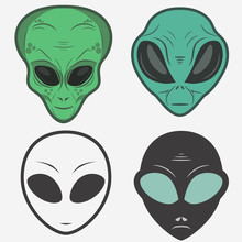 Alien Face Icon Set, Humanoid ...