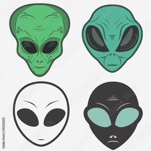 Alien face icon set, humanoid head, vector Fototapet