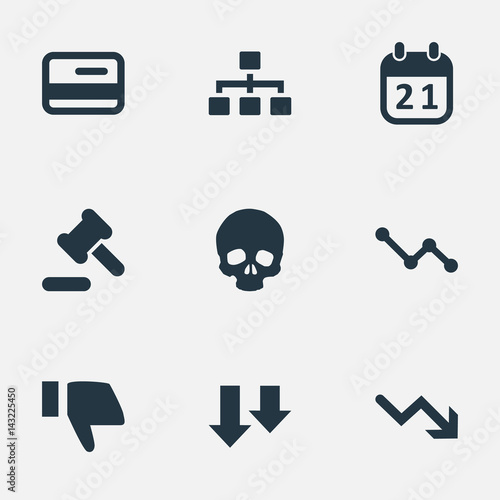 Vector Illustration Set Of Simple Situation Icons Elements Finger Below Graph Decreases Head