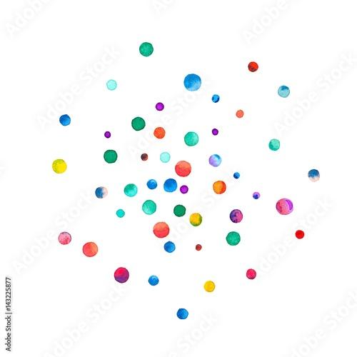 Fototapeta Sparse watercolor confetti on white background. Rainbow colored watercolor confetti double circle. Colorful hand painted illustration. obraz na płótnie