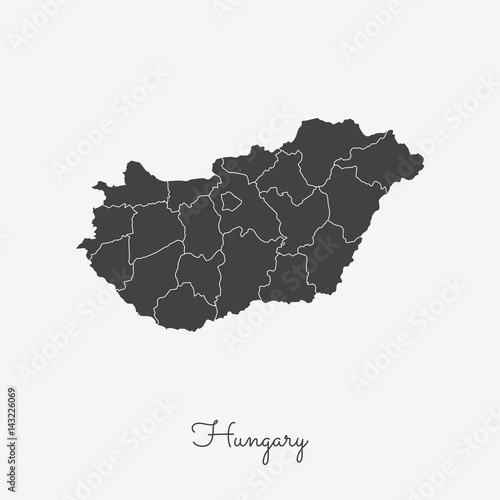 Fotografía  Hungary region map: grey outline on white background